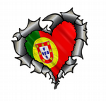 Ripped Torn Metal Heart Carbon Fibre with Portugal Portuguese Flag External Car Sticker 105x100mm